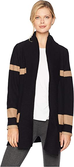 Color Block Cardigan w/ Rib Trim Sweater