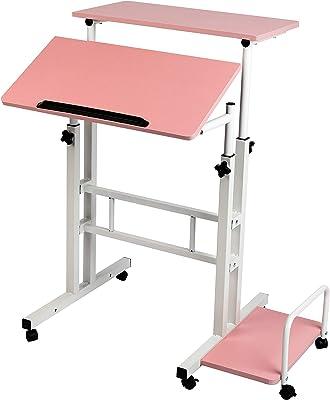 Mind Reader Mobile Sitting, Standing Desk Rolling Reversible Home Office Laptop Workstation with Side Storage, Locking Wheels, Large, Pink