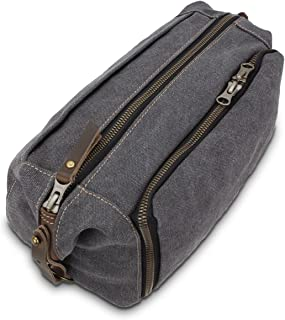 DOPP Kit Mens Toiletry Travel Bag YKK Zipper Canvas & Leather (Large, Grey)
