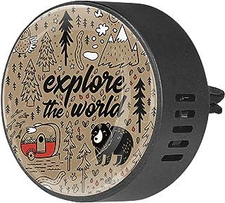 2 pièces diffuseur d'aromathérapie diffuseur d'huile essentielle de voiture clip d'aération ours animal dans la forêt