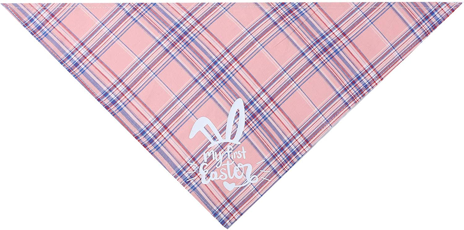 Easter Dog Bandana Plaid Letter Print Triangle Bibs Pet Scarf for Dog Lovers Owner Easter Gift Blue, One Size