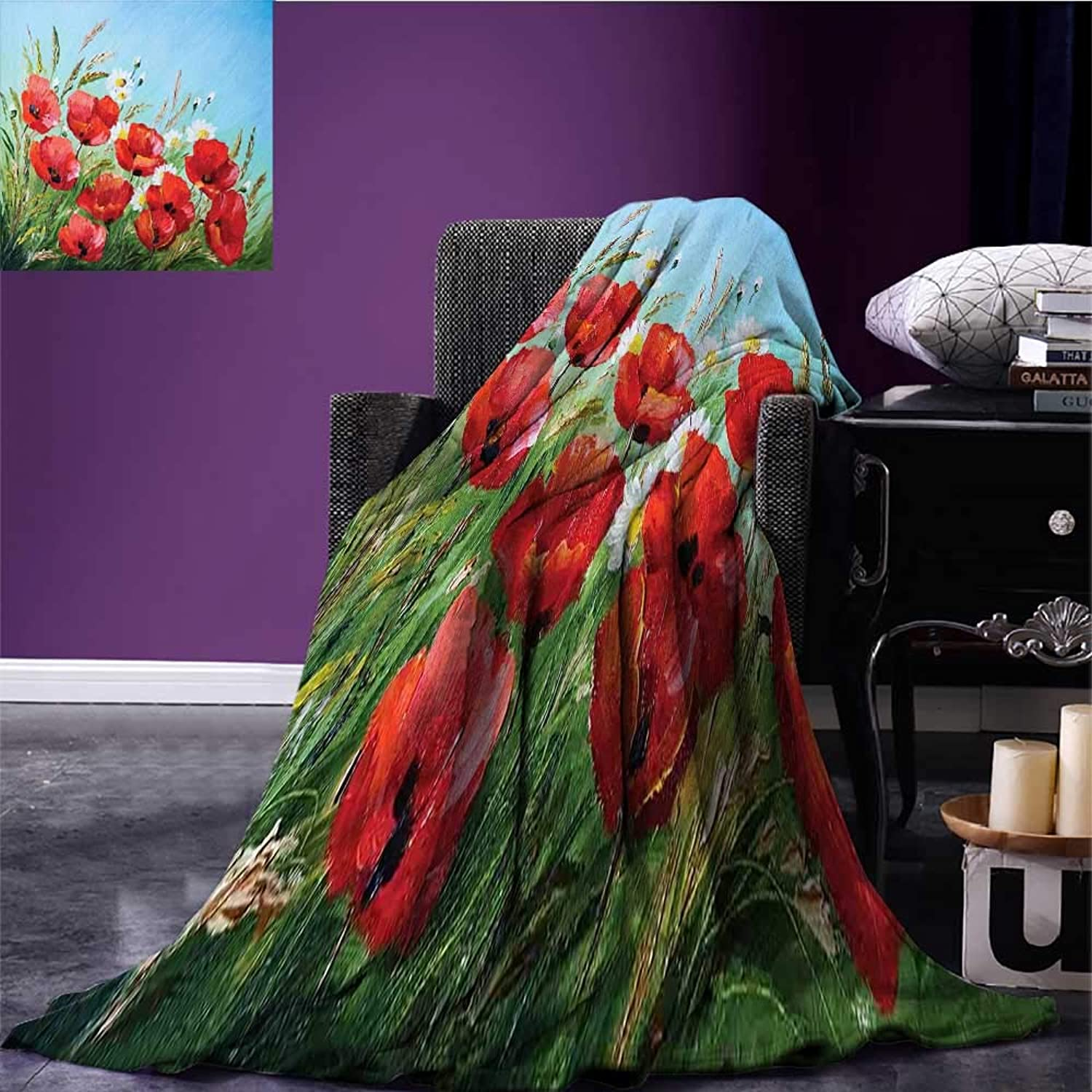 Homehot Flower Printing Blanket Greek Style House with Flowers Garden Seascape and Mountain Scenery Picture Print Summer Quilt Comforter Pale bluee Red Green Bed or Couch 60 x50
