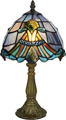 Tokira Tiffany Lampe de Table Bleu, 8 Pouces Baroque Lampe de Table en Verre Multicolore, Vintage Lampe de Table Chambre Chevet, Ampoule LED Gratuite