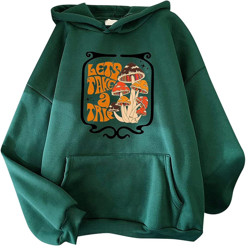 LINKIOM Hooded Sweater Women's Fashion Casual Fun Print Hooded Sweater Sweatshirt Loose Sports Tops Pullover