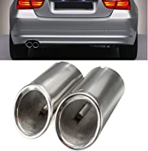 Funnytoday365 2Pcs Set Muffler Exhaust Tail Pipe Tip Chrome For Bmw E90 E92 325I 328I 3 Series 2006-2010