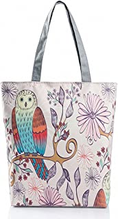 Cute Cartoon Owl Printed Tote Bag 100% Cotton Canvas Ecofriendly Daily Female Single Shoulder Shopping Foldaway Bags