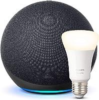 Echo (4.ª generación) | Sonido de alta calidad | Antracita + Philips Hue Bombilla Inteligente (E27), compatible con Alexa