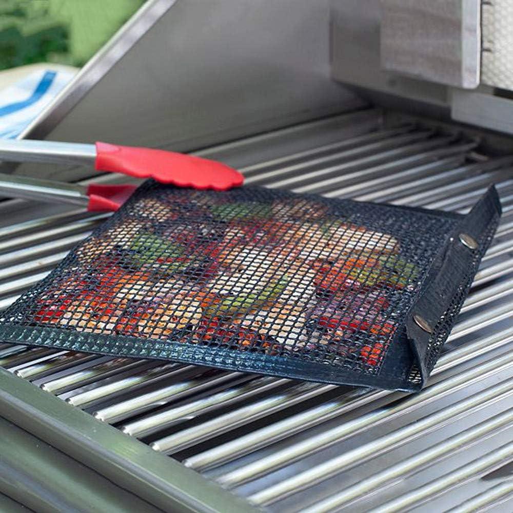 Sac de Tapis de Barbecue antiadhésif réutilisable Sac de Tapis de Maille de Barbecue antiadhésif réutilisable Sac de Tapis de Cuisson pour Barbecue 3PCS Black-M