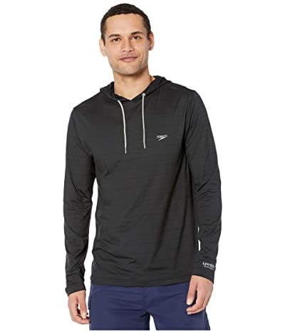 Speedo Long Sleeve Hooded Rashguard (Speedo Black) Men