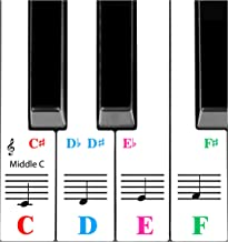 QMG Piano Stickers for 61-Key Keyboard, Bright Colorful Stic