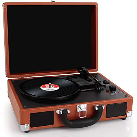 Pyle Upgraded Vintage Record Player - Classic Vinyl Player, Turntable, Rechargeable Batteries, Bluetooth, MP3 Vinyl, Music Editing Software Included, Works w/ Mac & PC, 3 Speed - PVTTBT6BR Brown