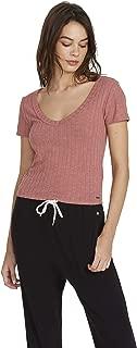 Volcom Women's Short Sleeve Knit Tee Shirt, rose wood, X-Small