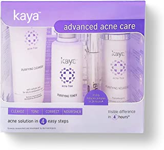 Kaya Clinic Advanced Acne Care Kit (set of 4 for oily & combination skin), Acne Face Wash/Acne cleanser + Acne Toner + Acn...