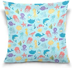 "MASSIKOA Ea Underwater Animals Decorative Throw Pillow Case Square Cushion Cover 18"" x 18"" for Couch, Bed, Sofa or Patio -..."
