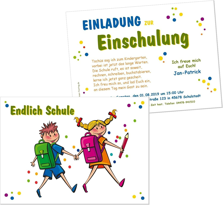 Unser-Festtag schöne Einladungskarten zur zur zur Einschulung - für Jungen und Mädchen, Schulkinder, Freunde - 90 Karten - DIN A5 B07CYP8RBW | Kunde zuerst  cd448c