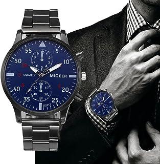 Bokeley Men's Watch, Watch Luxury Quartz Crystal Sport Stainless Steel Wrist Watch Men (Black)