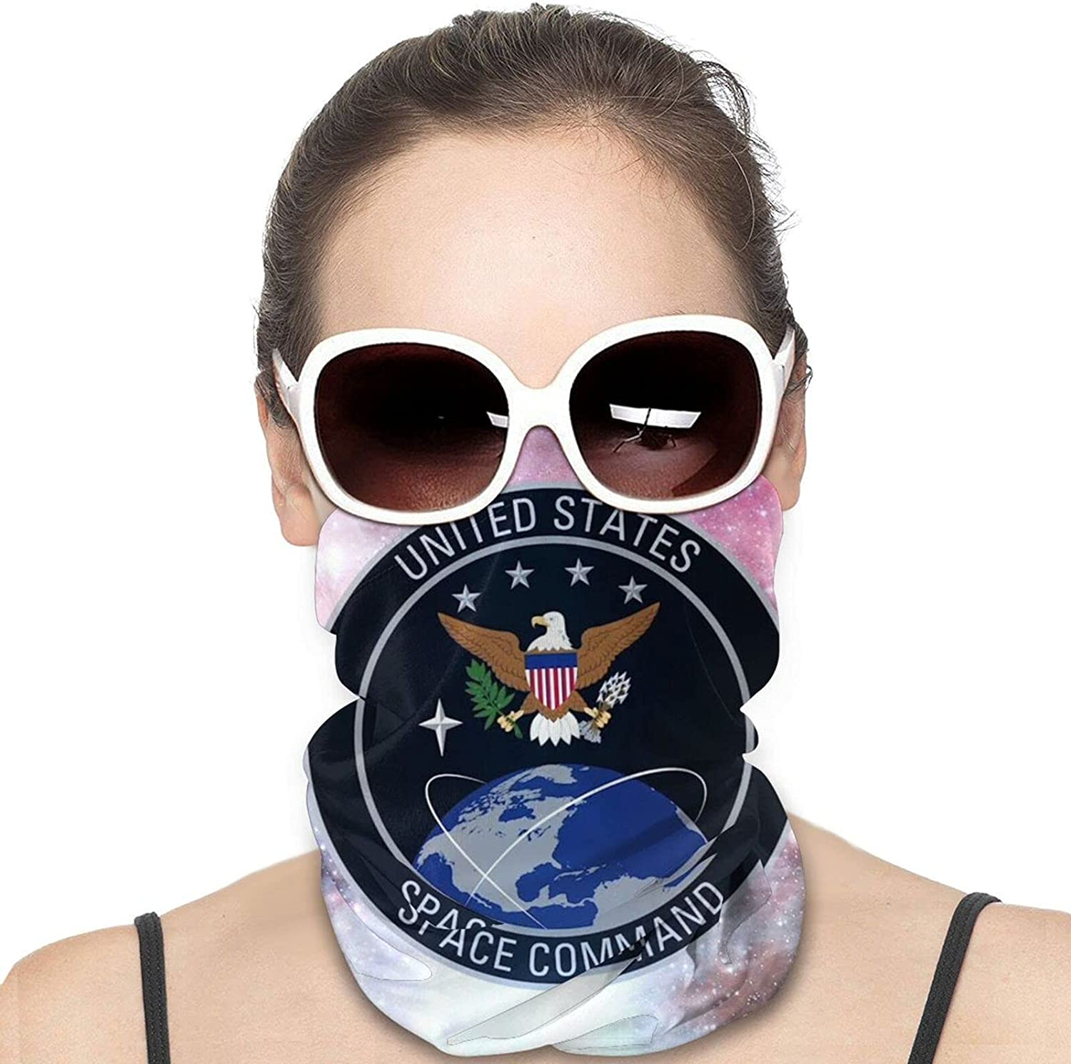 United States Space Command Usspacecom Emblem Round Neck Gaiter Bandnas Face Cover Uv Protection Prevent bask in Ice Scarf Headbands Perfect for Motorcycle Cycling Running Festival Raves Outdoors