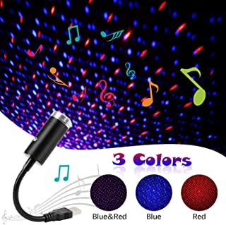 USB Star Light Sound Activated Projector, 3 Colors + 9 Functional Modes, Aevdor Romantic Interior Auto Light, USB Night Light Decorations for Home Car Room Party Ceiling,Plug and Play (Red&Blue)