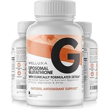 Liposomal Glutathione Setria® (600 mg) - Pure Reduced Glutathione Capsules for Skin Whitening Antioxidant Support Liver Detox Immunity - Liposomal Glutathione Supplement - GSH L-Glutathione (60 ct)