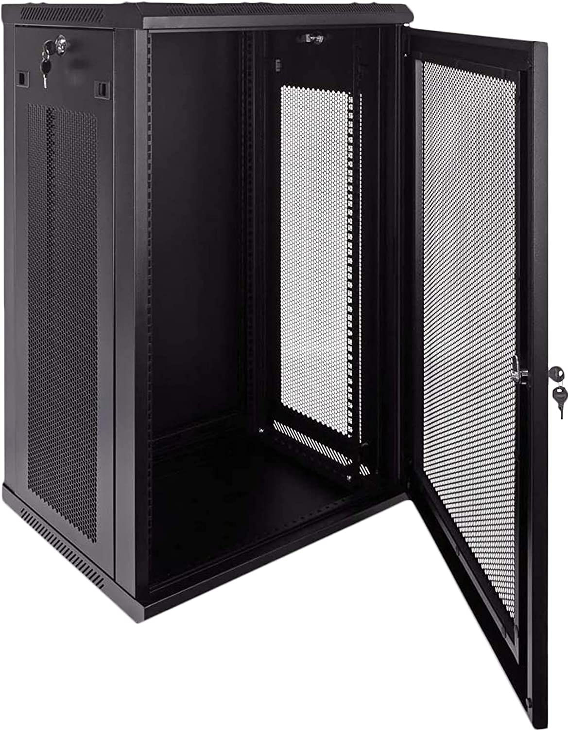 18U Wallmount Cabinet Enclosure 19-Inch Server Network Rack with Locking Perforated Door, Removable Locking Side Panel (Black)