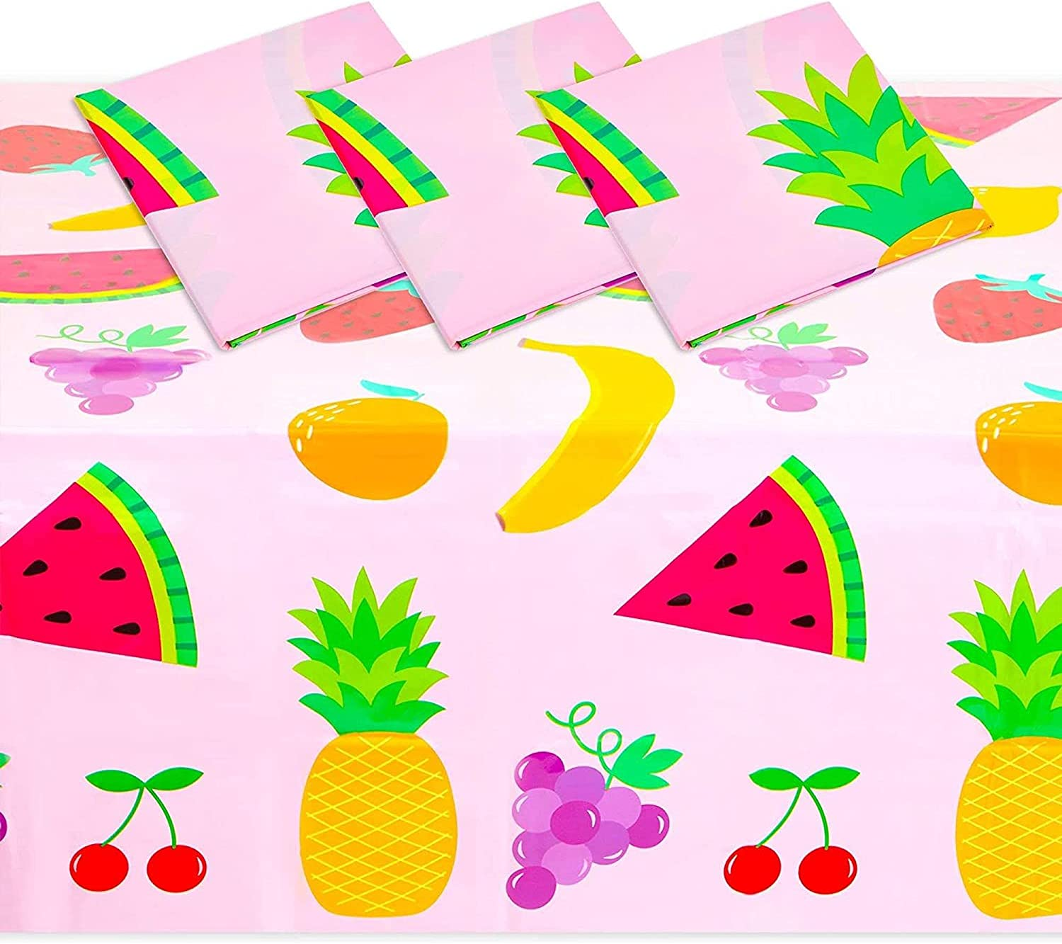 Tablecloth for Two-tti Frutti 2nd Birthday Party Decorations (Pink, 54 x 108 in, 3 Pack)