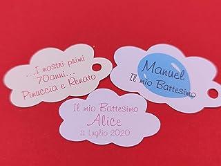 ArtigianeriA - Set di 20 (o più) ETICHETTE personalizzate a forma di NUVOLA per BOMBONIERE fai da te. Ideali per Battesimo...