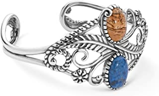 American West Sterling Silver Multi Gemstone Choice of 2 Color Combinations Leaf Cuff Bracelet Size S, M or L