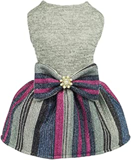 Fitwarm Bling Bling Striped Pet Clothes for Dog Dresses Cat Apparel