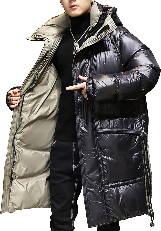 LZJDS Winter Hooded Puffer Coat for Men Parka Winter Long Puffy Jacket Heavyweight Insulated Outwear