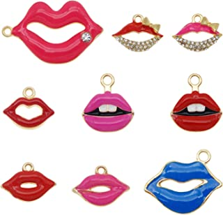 4 Red Lips Charms \u2022 Stainless Steel  \u2022 Tiny Minimal Valentines \u2022 Jewelry Making Supplies \u2022 Simple Romantic Charms Love \u2022 Beads AS072