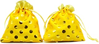 10 Pcs Gota Polka Potli  Pouches Colorful for Gifts, Jewellery, Chocolates, Shagun, Party & DIY Craft Work Yellow