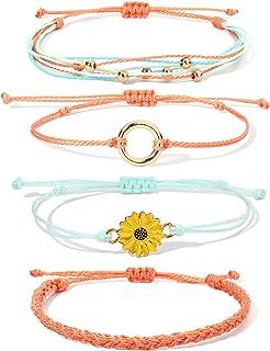 FANCY SHINY Sunflower String Bracelet Handmade Braided Rope Charms Boho Surfer Bracelet for Teen Girls Women
