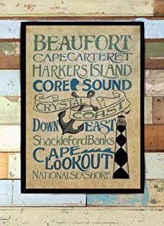 Crystal Coast Word Art Print from an Original Hand Painted and Lettered Sign Subway Style Beach House Decor Restaurant bar