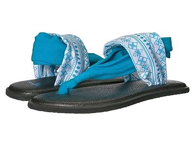 Sanuk Kids Lil Yoga Sling 2 Prints (Little Kid/Big Kid) (Abbot Kinney Wind Chime/Neon Blue) Girls Shoes