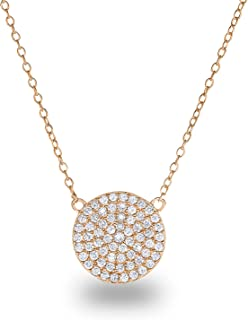 14k Gold Plated Sterling Silver Pave Cubic Zirconia Circle Disc Chain Necklace 18 Inch 12mm Diameter Disc