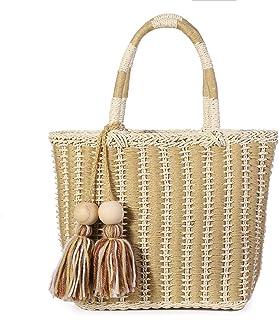 JOSEKO Bolso de playa de verano, bolso de hombro tejido de paja tejida, estilo de vacaciones, adecuado para viajes de play...