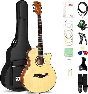 بسته گیتار الکتریک آکوستیک ، 36 اینچ 3/4 اندازه گیتار برقی صوتی صنوبر برای نوجوانان بزرگسال مبتدی ، توسط Vangoa