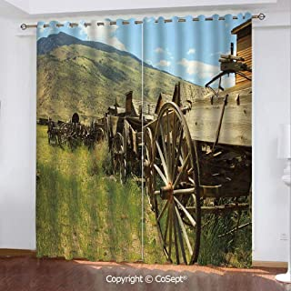 CoSept Solid Polyester Window Curtain,Line of Antique Carriages in Rural Village Farm and Hills Decorative,for Bedroom and Living Room,51.96x62.99 Inch Length,2 Drape Panels,Green Brown Light Blue