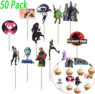 Game Birthday Cake Toppers, Game Party Favors 50Pcs DIY Cake Decorating for Birthday Christmas Wedding (50pcs)