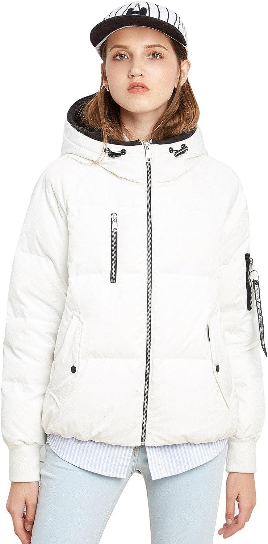 BOSIDENG Women's Winter Warm Thicken Down Jacket Hooded Parka Basic Top Front Zipper Decoration Outerwear