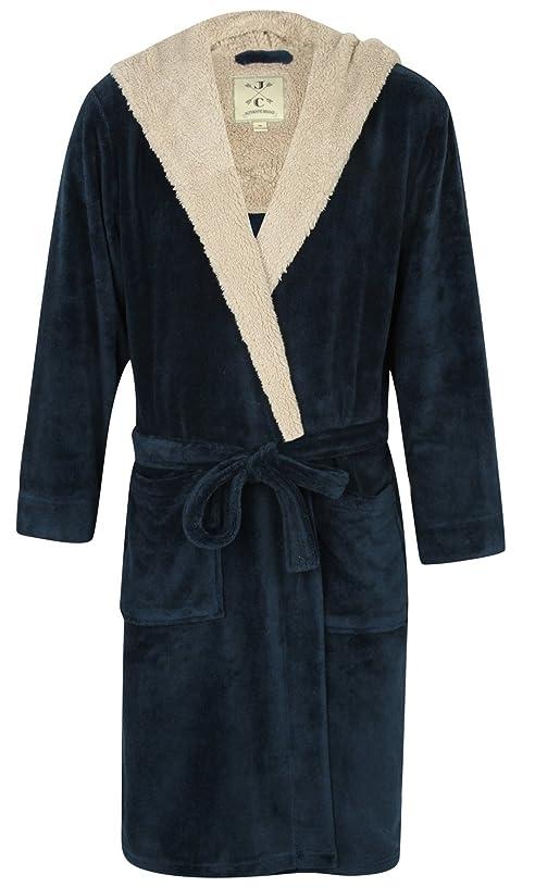 John Christian Men's Hooded Fleece Robe, Blue Marl