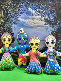 Radha-Krishna with Lalita and Vishakha soft toy dolls- Soft and Stuffed Washable Toys - VRINDAVANBAZAAR.COM