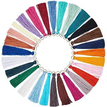 Boucles doreilles Projets de Bricolage nbeads 100 Pcs 130 /× 6 mm Polyester Pompon Fait /À La Main Doux Pompons Pendentifs pour Fabrication de Bijoux