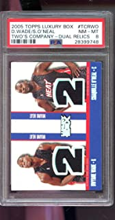 2005-06 Topps Luxury Box Two's Company Shorts 170/193 Shaquille O'Neal Dwyane Wade Game Used Game Worn Jersey PSA 8 Graded NBA Basketball Card Dwayne Oneal Shaq