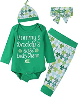 Baby Boys Girls Cute ST Patrick's Day Romper Clover Pants Headband with Hat