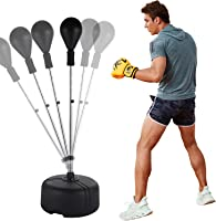 Mauccau Punching Bag with Stand Adjustable Solid PU Boxing Bag with Reflex Bar Speed Punching Ball for Home Outdoors Gym Adults Kids