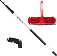 5-15 Foot Extension Pole with Squeegee & Microfiber Window Washer Cleaner Attachment - Light-Weight Retractable Extension ...