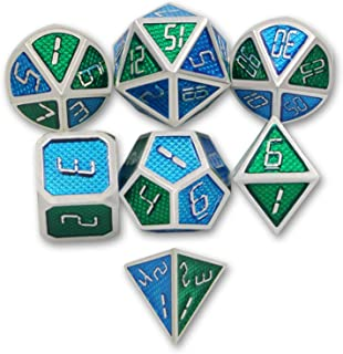 DNDWoW RPG Dice Metal Bicolor Polyhedral DND Set for 5e Dungeons and Dragons, Pathfinder (Silver Blue and Green)