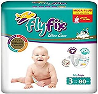 FlyFix TRFFXBD100014 Baby Diapers, Ultra Comfort and Protection, Midi, (4-9 kg) - 90 pcs, Unisex