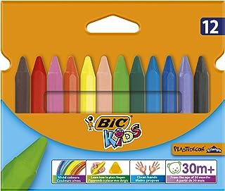 BIC Kids Plastidecor Triangle Craies de Coloriage - Couleurs Assorties, Etui Carton de 12